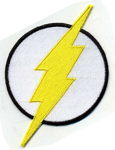 4-Large-Fully-Embroidered-White-Yellow-Chest-Insignia-Patch-THE-FLASH