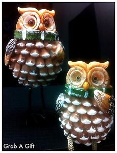 DECORATIVE PAIR OF OWL ORNAMENT FIGURINE SHELF,EDGE SITTERS GIFT
