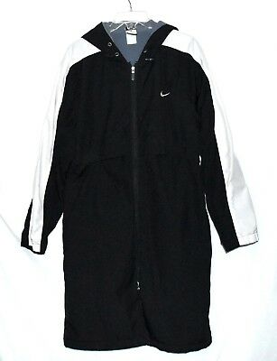 Nike Black & White with Vented Cape Top Womens Fleece Lined Hooded Coat Size - White Hooded Cape