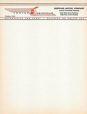 NC INDIAN MOTORCYCLES LETTERHEAD - Sheppard Motor Co. High Point, NC 40s Vintage