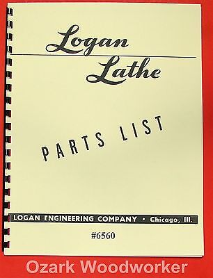 Logan 14 Metal Lathe 6560 Parts List Manual 0454
