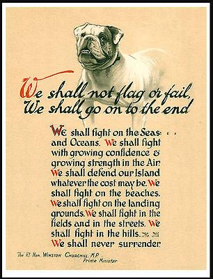 BRITISH BULLDOG WW2 WINSTON CHURCHILL NOT FLAG OR FAIL GREAT DOG PRINT POSTER