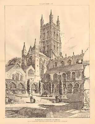 1892 ANTIQUE ARCHITECTURAL PRINT-CATHEDRAL-GLOUCESTER FROM CLOISTER GARTH