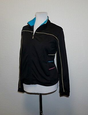 Stalk Black Tricot  Mockneck Activewear Jacket Medium