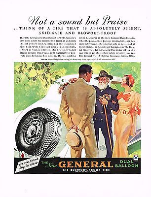 1930s BIG Vintage General Tire Man Woman Military Fashion Car Auto Art Print Ad