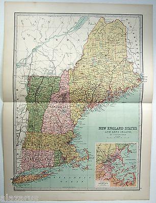 Original 1875 Map of New England by J Bartholomew