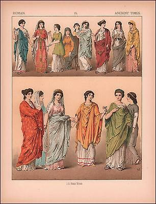 ROMAN, ROME, FASHION IN ANCIENT TIMES, Chromolithograph original 1882