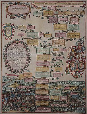 Stuttgart mit Stammbaum der Herzöge von Württemberg - A. Albizzi um 1600 - Rar