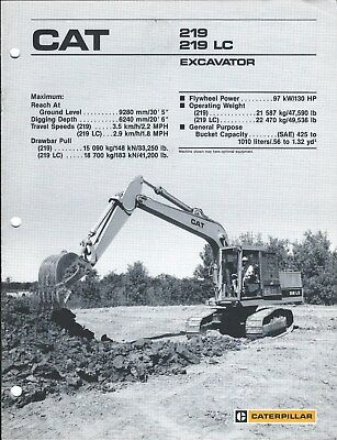 Equipment Brochure - Caterpillar - 219 Lc - Excavator - C1987 E4208