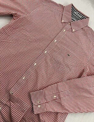 Lacoste Button Up Modern Fit Dress Shirt Pink Check Mens Size 42 L Large