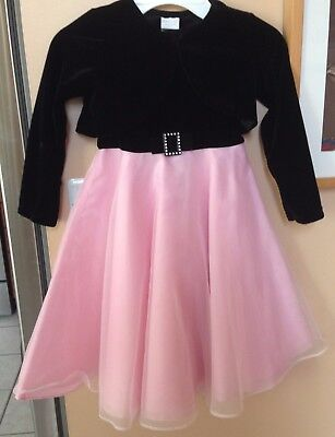 Perfectly Dressed Girls Christmas Party DRESS Black Velvet Pink & Shrug Size 5 - Girls Velvet Shrug