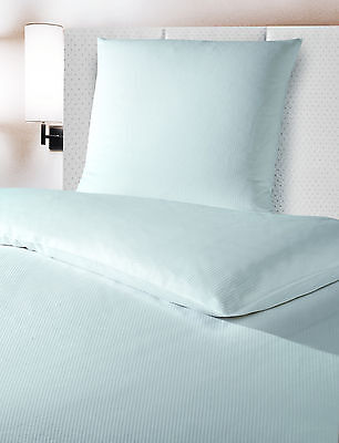10 x Hotelbettwäsche Satinstreifen 4mm 135x200 + 80x80cm weiß Hotel Pflege Heim