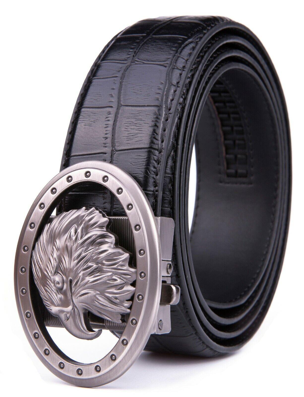 Mens Ratchet Belt Bonded Leather Belts For Men With Adjustable Buckle Belts