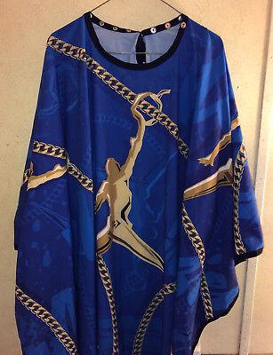 illuzien BARBER & STYLIST CUTTING CAPE blue w gold man & chain