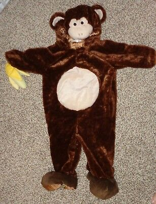 Plush Toddler Boys Girls Monkey Costume Hood Attached Banana Size 12-24 Months ](Boys Monkey Costume)