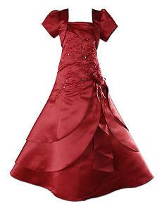 New Burgundy Satin Flower Girl Bridesmaid Dress 2-3 years with Matching Bolero