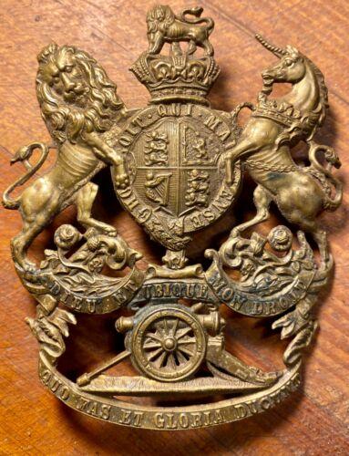 VICTORIAN British Army Royal Artillery Helmet Plate Badge QVC (BRASS)