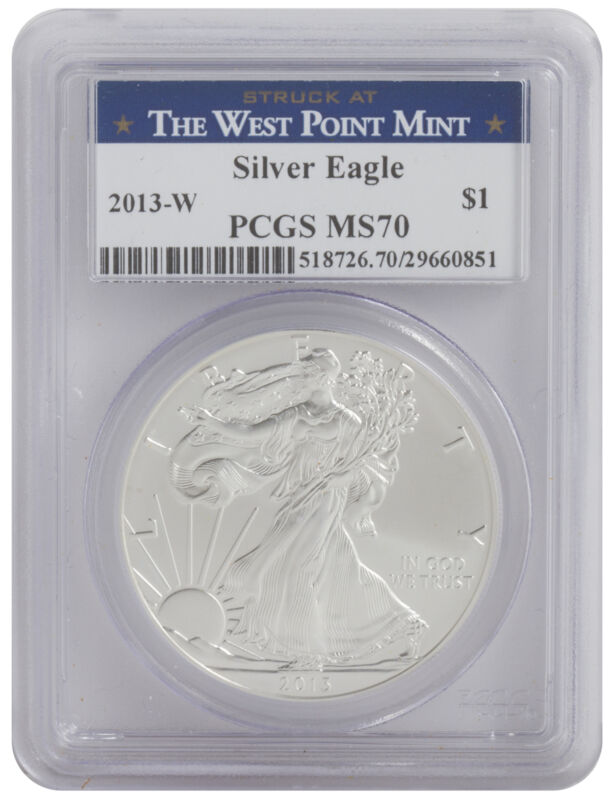 2013-W - 1oz Burnished American Silver Eagle MS70 PCGS - Struck at West Point