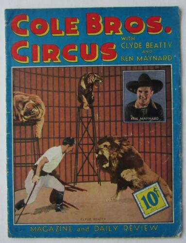 1937 Vintage Cole Brothers Circus Program  With Clyde Beatty & Ken Maynard