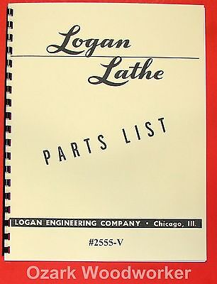 Logan 12 Metal Lathe 2555-v Parts List Manual 0453