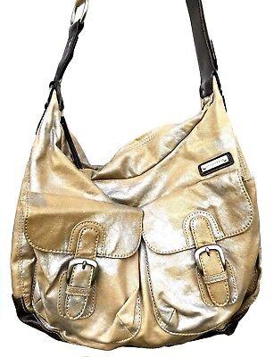 STORKSAK BABY MEL Beige Silver Carry All Shoulder Cross Body Dipper Bag