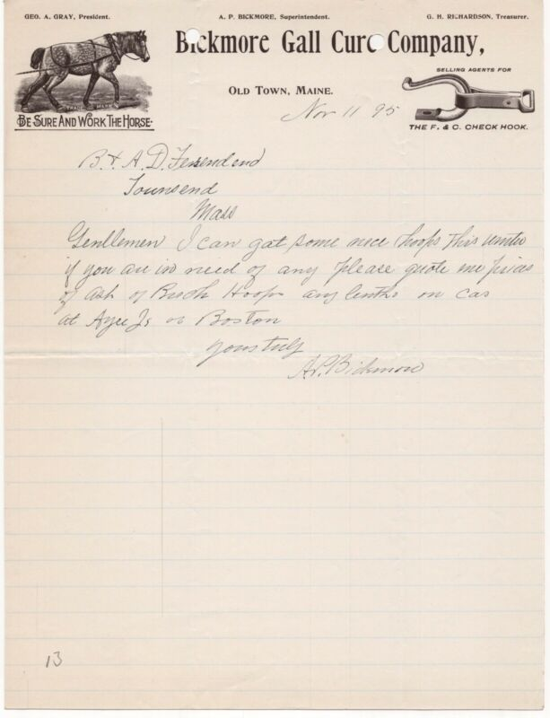 1895 BICKMORE GALL CURE COMPANY OLD TOWN MAINE WORK HORSE SALVE LETTERHEAD