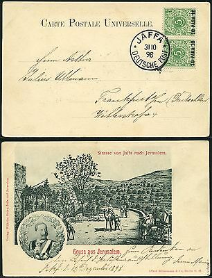 110/DP Türkei 1898 Postkarte Gruß aus Jerusalem 6 c Paar ° Jaffa Geprüft BPP