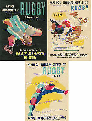 3 ARGENTINA, FRANCE, SOUTH AFRICA RUGBY MATCH POSTERS WONDERFULLY ILLUSTRATED