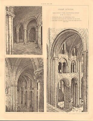 1893 ANTIQUE ARCHITECTURAL PRINT-CATHEDRAL-DURHAM, VARIOUS INTERIOR VIEWS