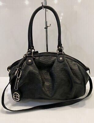 Gucci Sukey Monogram Leather Hobo Bag 2 Way Boston Black Guccissima Handbag
