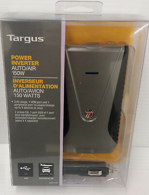 Targus APV12 Auto/Air 150W Power Inverter Slim Line Style AC plugs and USB ports (Slim Style Usb)