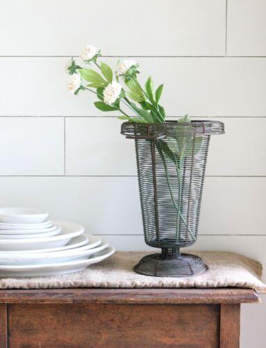 Antique French Metal Wire Garden Urn Basket Planter Sturdy Wireware Old Paint
