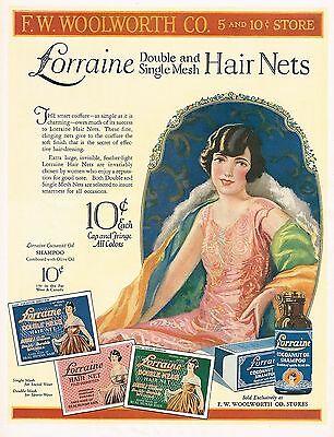 1920s BIG Vintage Lorraine Hair Net Pretty Lady Fashion Clothing Art Print Ad