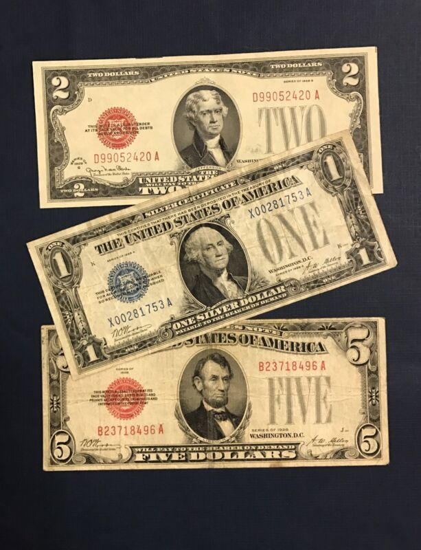 1928 $1.00 Funny Back, 1928 $2.00 Legal Tender, & 1928 $5.00 Legal Tender