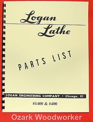 Logan 400 1400 Metal Lathe Parts Manual 0458