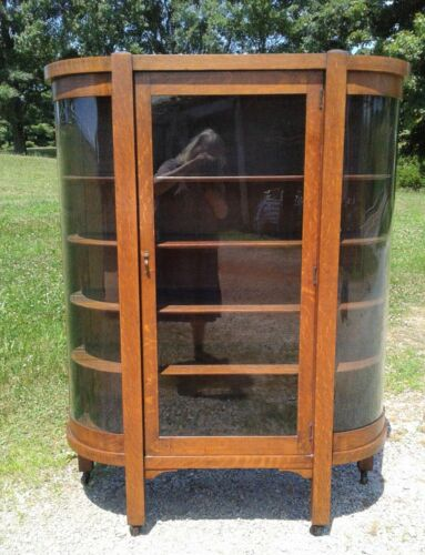 Antique Tiger Oak Mission Arts and Crafts Style China Cabinet 1920s