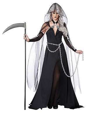 Adult Sexy Day Of The Dead Ghost Lady Grim Reaper Costume ](Lady Of The Dead Costume)