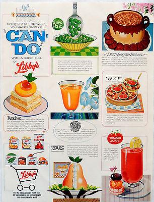 Vintage 1964 Libby's can food juice fruit vegetable advertisement print ad art