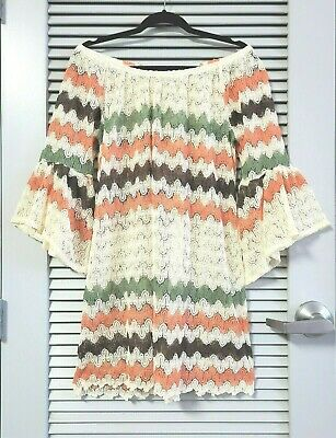 3/4 cream/ orange chevront bell slev crochet tunic 1XL -