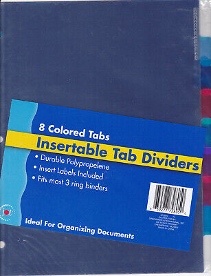 Jot Insertable Tab Dividers 8 Colored Tabs Fits Most 3 Ring Binders