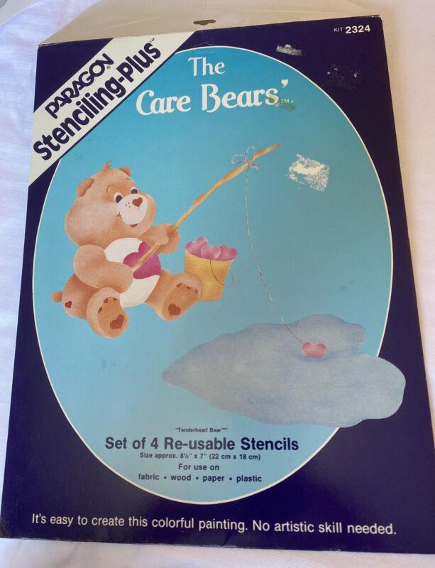The Care Bear paragon stenciling plus 4 Reusable Stencils Tender Heart 2324 vtg