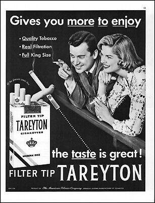 1956 Man Woman smoking quality Tareyton cigarettes vintage photo print ad L68