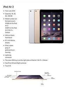 iPad Air 2 128G Gold wifi & Cellular St Ives Ku-ring-gai Area Preview