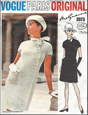 1969 Vintage VOGUE Sewing Pattern DRESS B36 (1154) By 'Molyneux'