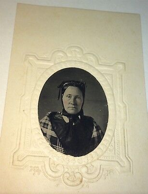 Rare Antique Victorian American Fashion Old Woman! Tintype Photo! C.1860's! US!