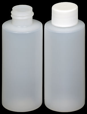 Plastic Bottle (HDPE) w/White Lid, 2-oz. 100-Pack, New