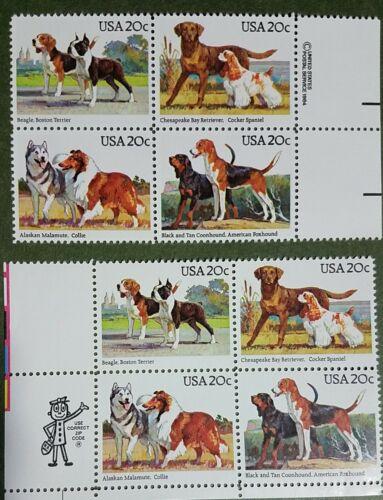 USPS 2098-101 DOGS 2 Blocks Of Four, 20 Cent Stamps 4 Designs MINT OG NH 1984 - $4.95