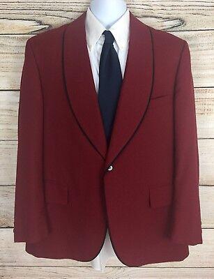 Vintage 60s Lord West Men's Red Shawl Collar Smoking Jacket 1 Button Size 43 Reg - Red Smoking Jacket