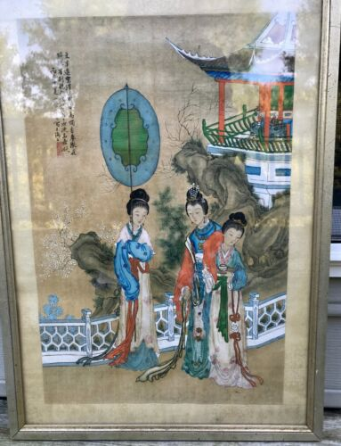 Chinese Painting on Silk Signed Seal Mark Beautiful Ladies Vintage Framed
