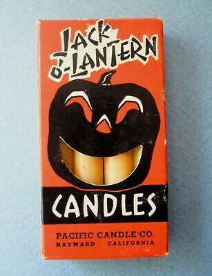 Vintage 1940s Halloween Jack O'Lantern Candles in Box, Pacific Candle-Hayward CA